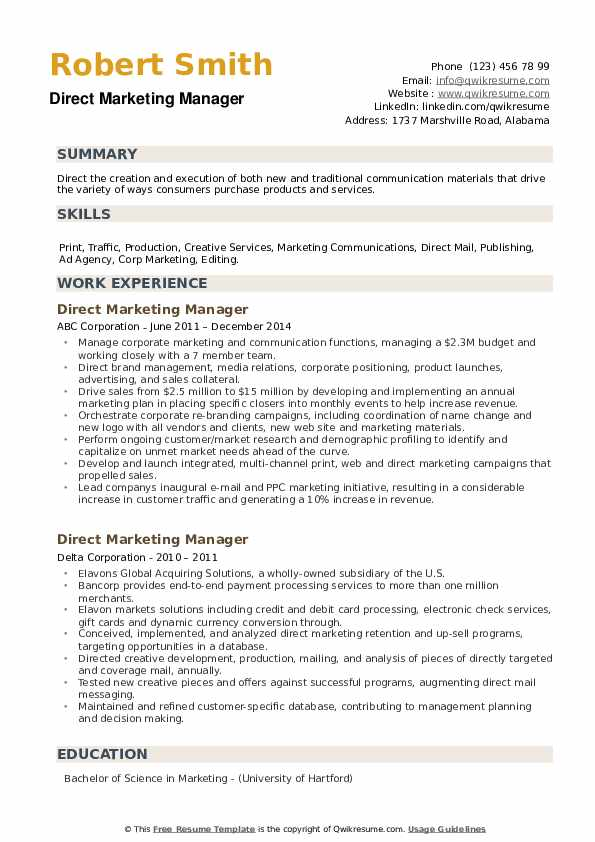 Direct Marketing Manager Resume example