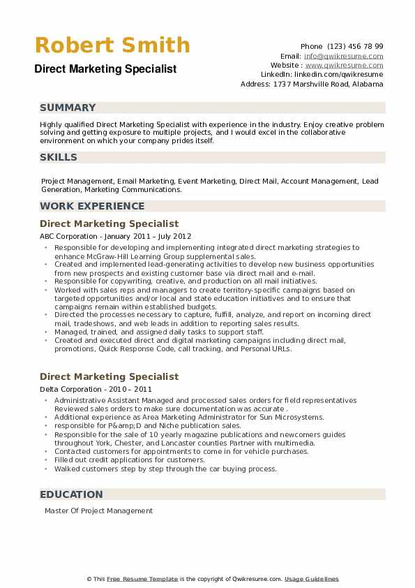 Direct Marketing Specialist Resume example