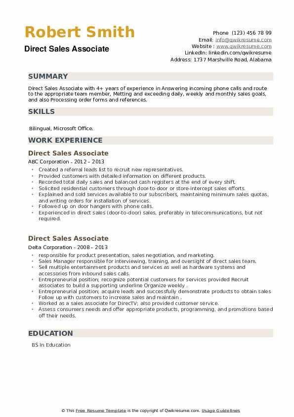 Direct Sales Associate Resume example