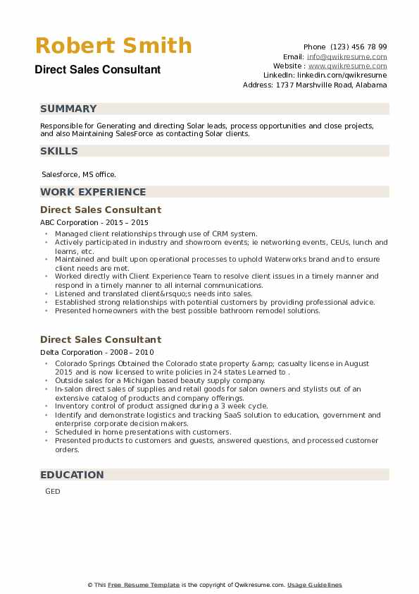 Direct Sales Consultant Resume example