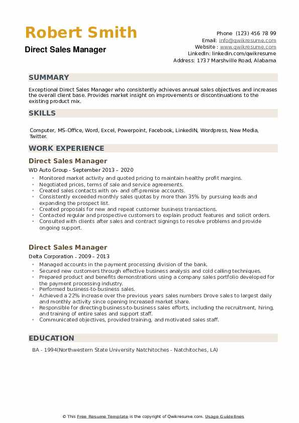 Direct Sales Manager Resume example