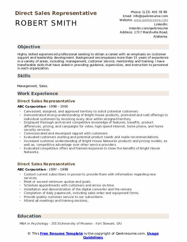 Direct Sales Representative Resume Template