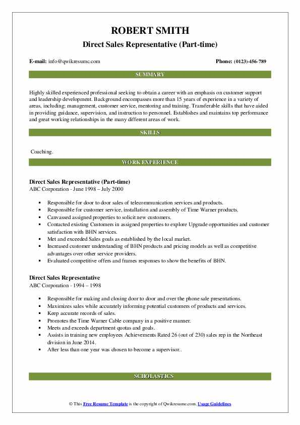 Direct Sales Representative (Part-time) Resume Template