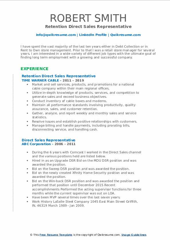 Retention Direct Sales Representative Resume Model
