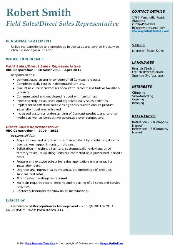 Field Sales/Direct Sales Representative Resume Format