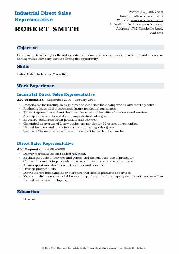 Industrial Direct Sales Representative Resume Template