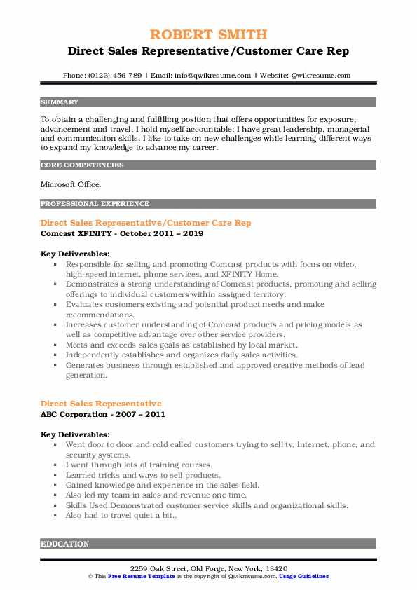 Direct Sales Representative/Customer Care Rep Resume Model