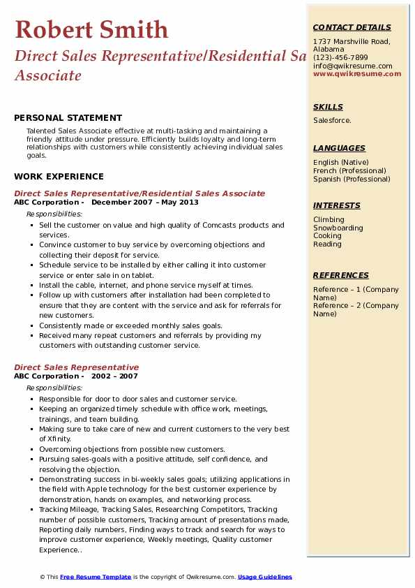 Direct Sales Representative/Residential Sales Associate Resume Model