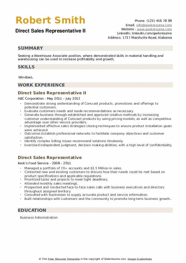 Direct Sales Representative II Resume Model