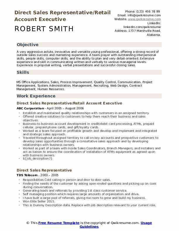 Direct Sales Representative/Retail Account Executive  Resume Format