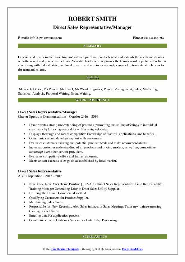Direct Sales Representative Resume Samples | QwikResume