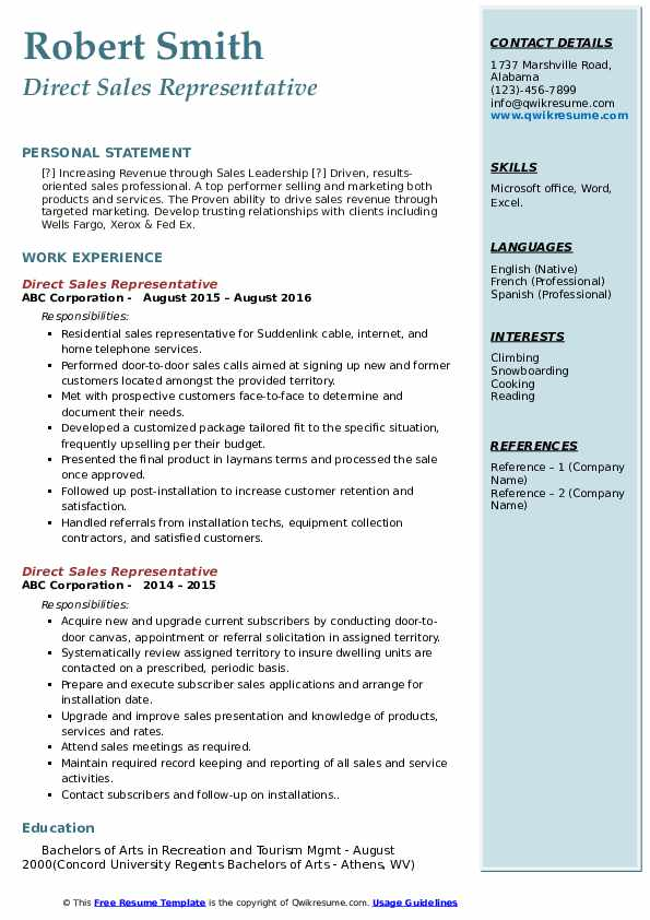 Direct Sales Representative Resume example