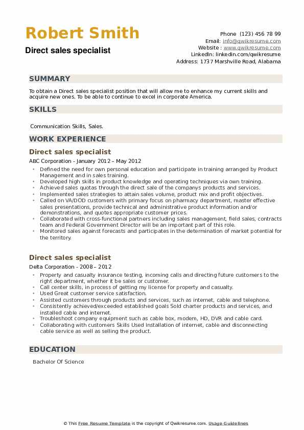 Direct sales specialist Resume example