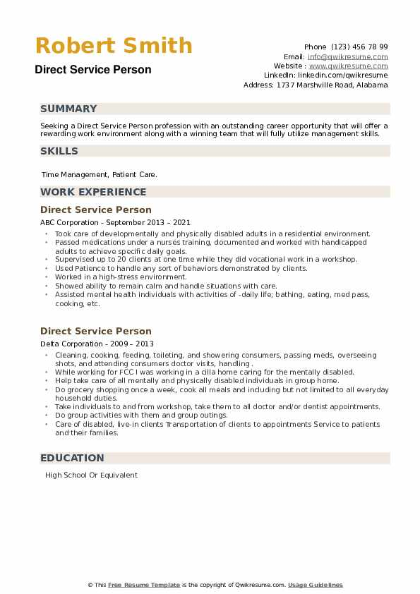 Direct Service Person Resume example
