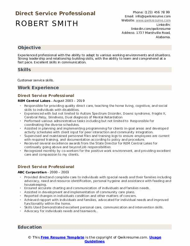 Direct Service Professional Resume Sample
