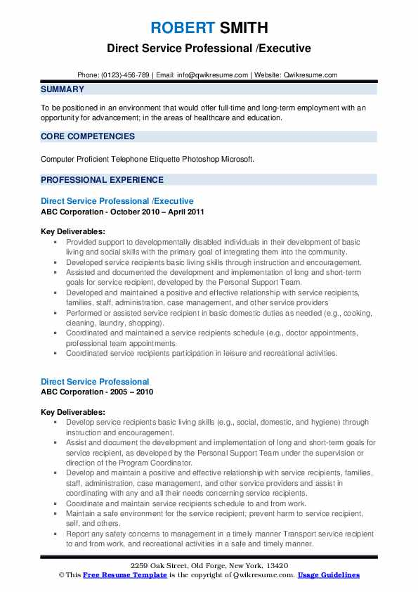Direct Service Professional /Executive Resume Template
