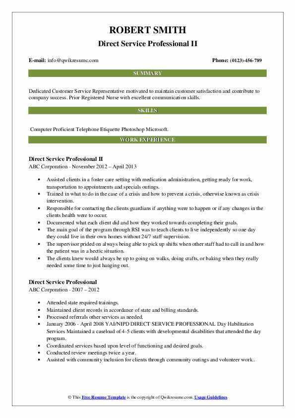 Direct Service Professional II Resume Example