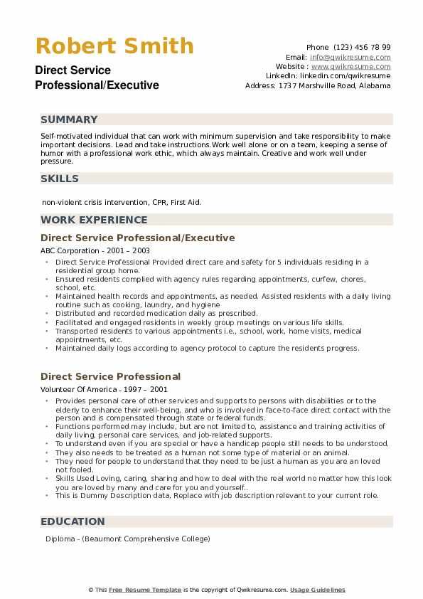 Direct Service Professional/Executive Resume Model