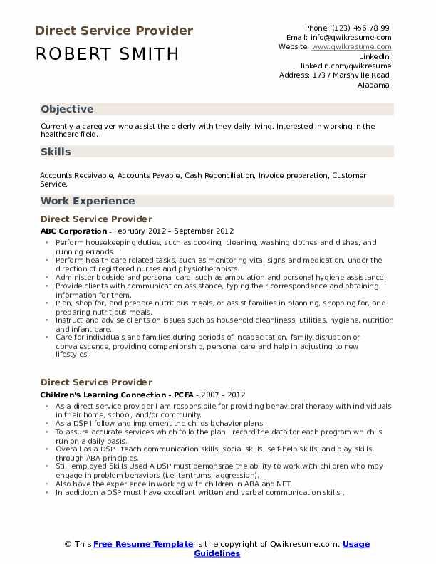 Direct Service Provider Resume Format