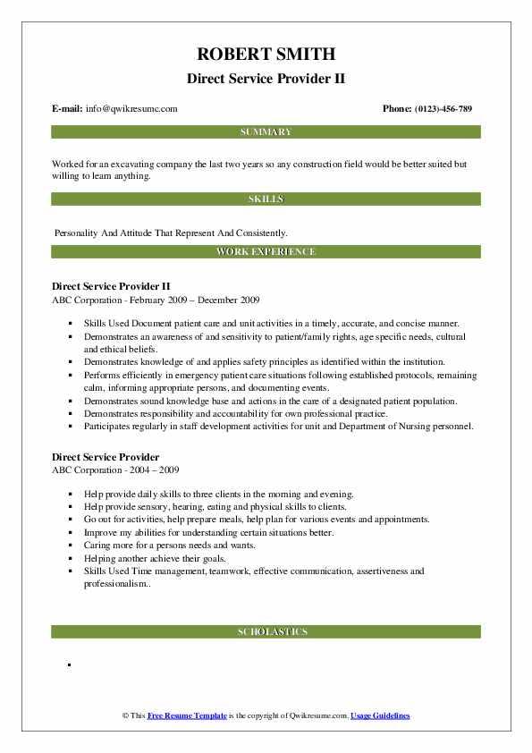 Direct Service Provider II Resume Sample