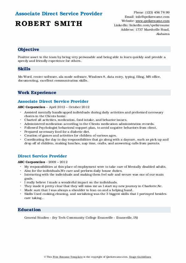 Associate Direct Service Provider Resume Sample