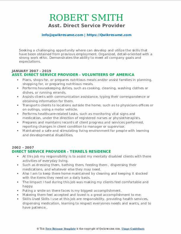 Asst. Direct Service Provider Resume Format