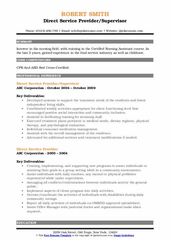 Direct Service Provider/Supervisor Resume Sample