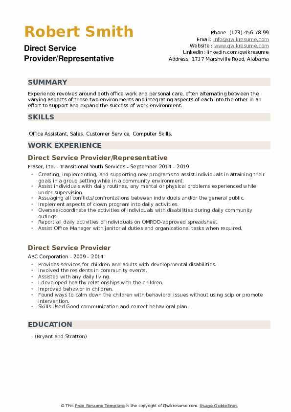 Direct Service Provider/Representative Resume Template