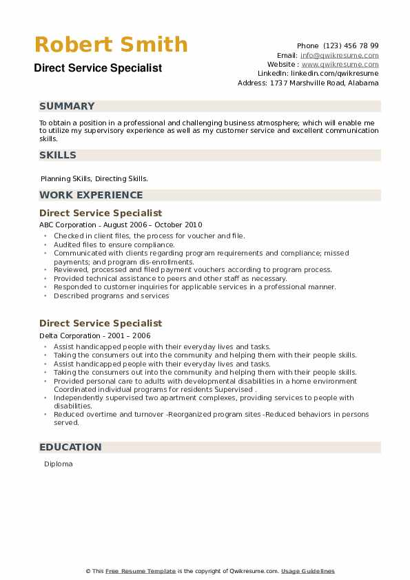 Direct Service Specialist Resume example