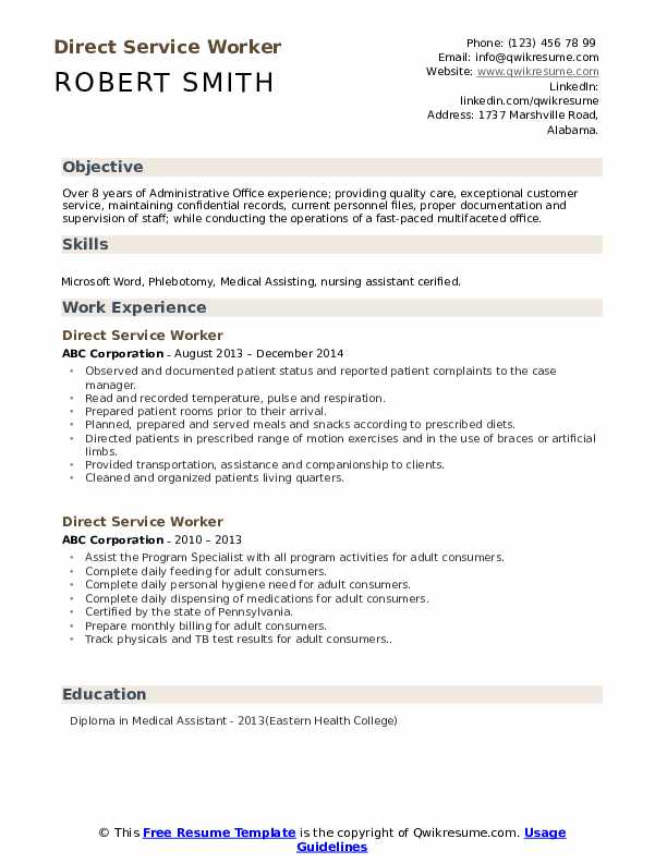 Direct Service Worker Resume Sample