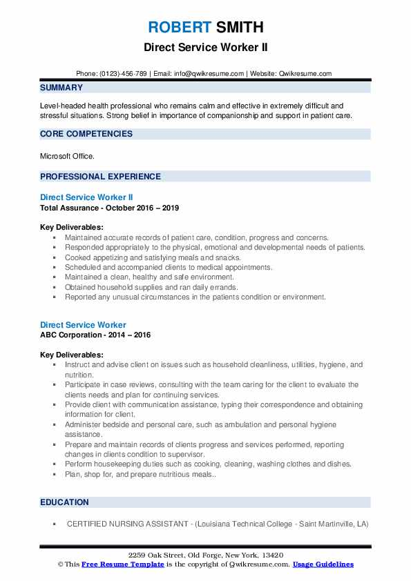 Direct Service Worker II Resume Sample