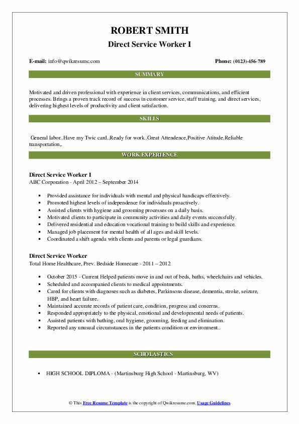 Direct Service Worker I Resume Sample