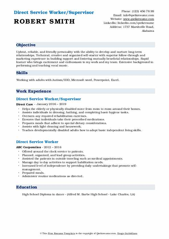 Direct Service Worker Resume Samples | QwikResume