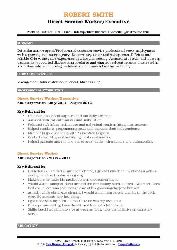 direct service worker resume samples