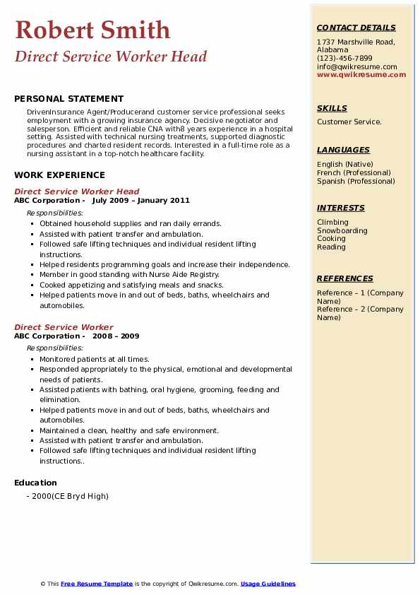 Direct Service Worker Head  Resume Model
