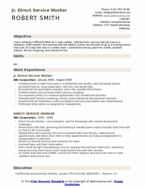 Jr. Direct Service Worker Resume Example