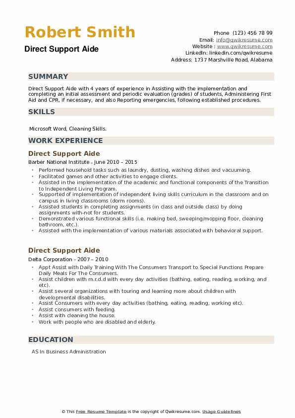 Direct Support Aide Resume example