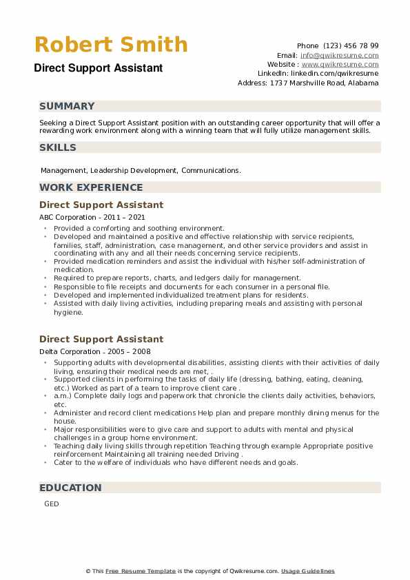 Direct Support Assistant Resume example