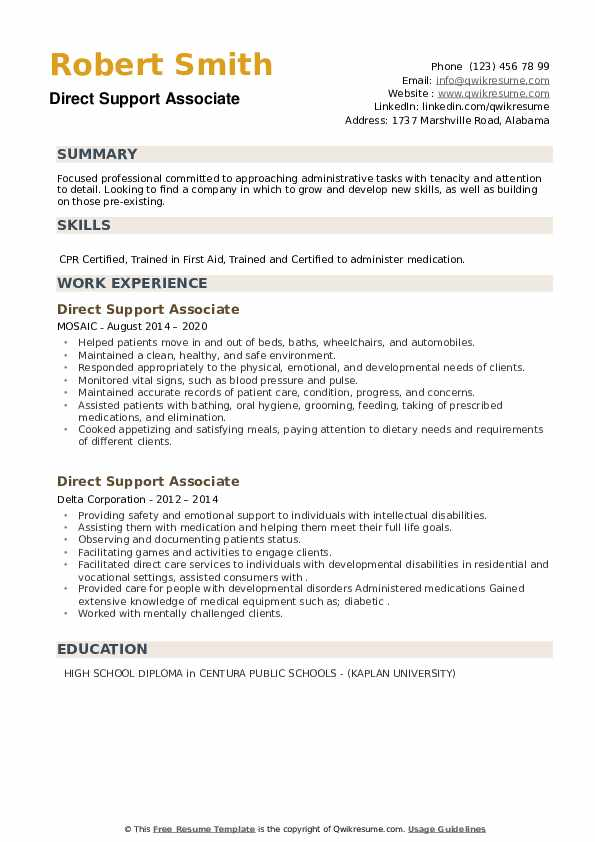 Direct Support Associate Resume example