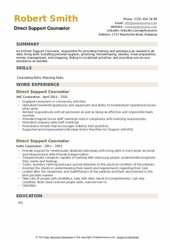 Direct Support Counselor Resume example