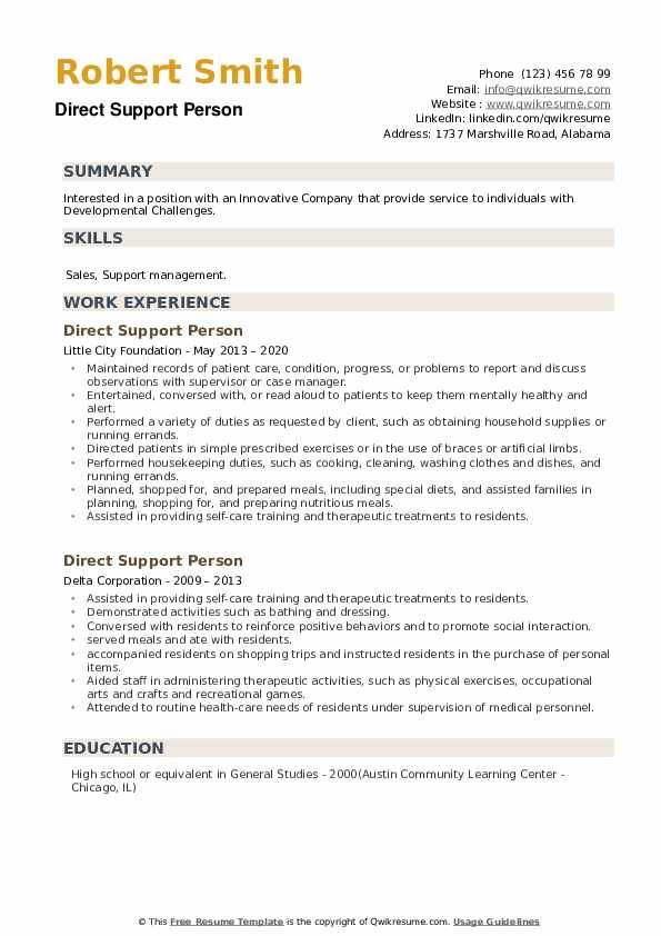 Direct Support Person Resume example