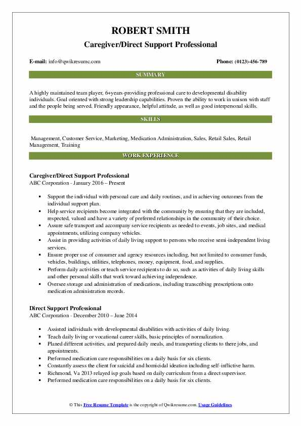 Caregiver/Direct Support Professional Resume Example