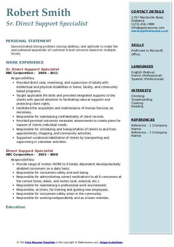 Sr. Direct Support Specialist Resume Template