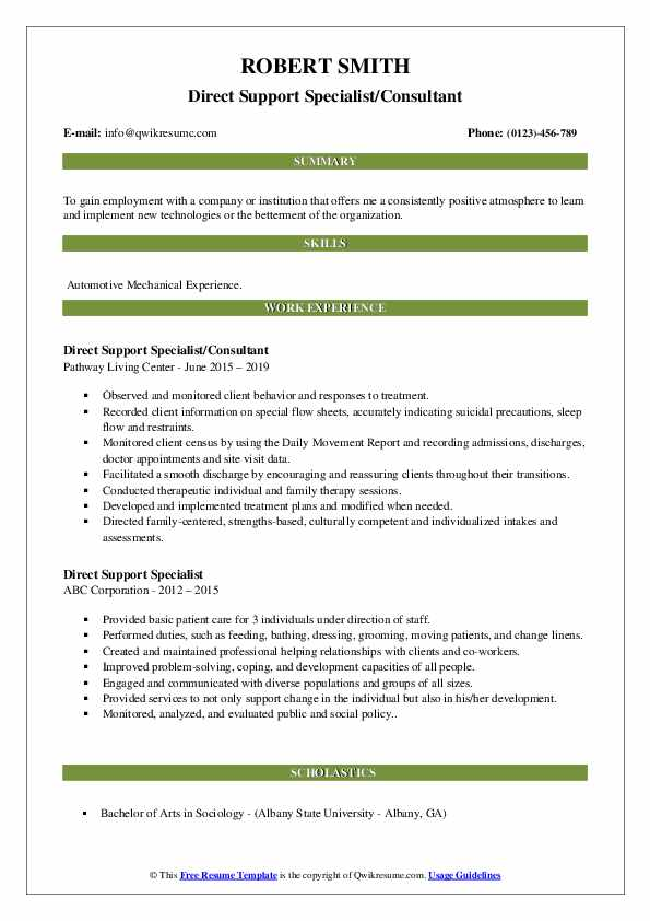 Direct Support Specialist/Consultant Resume Example