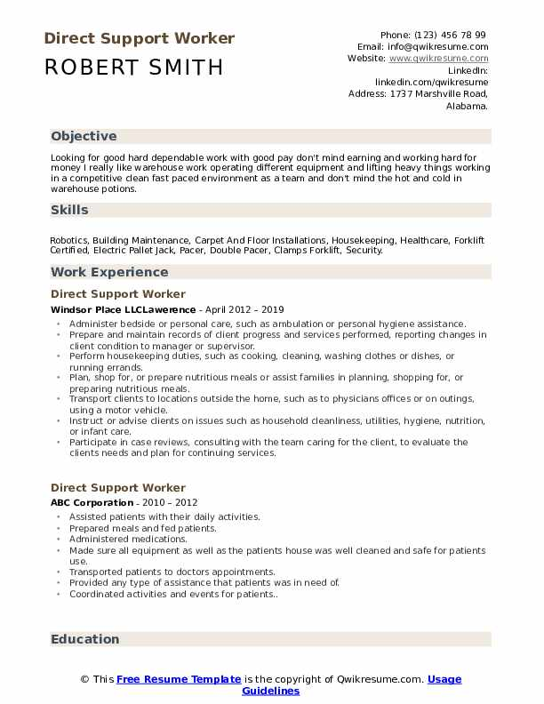 Direct Support Worker Resume Format