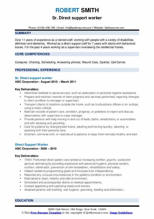 Sr. Direct support worker Resume Model