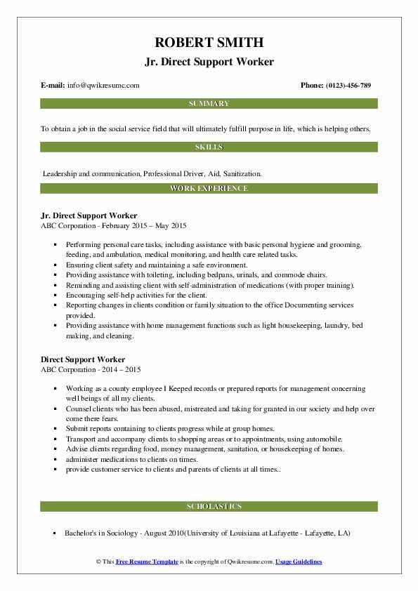 Jr. Direct Support Worker Resume Sample