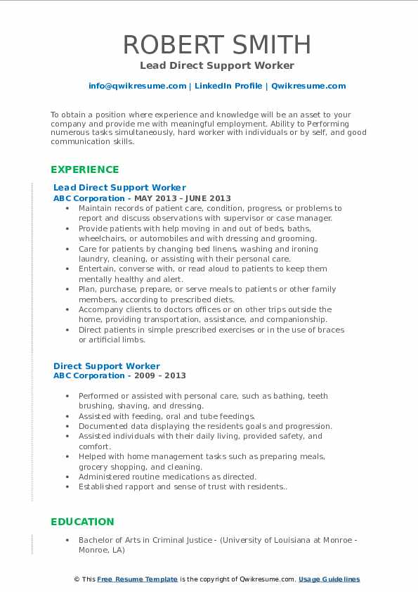 Lead Direct Support Worker Resume Format
