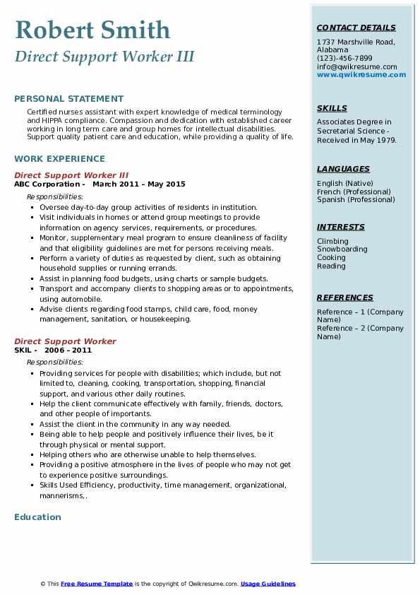 Direct Support Worker III Resume Format