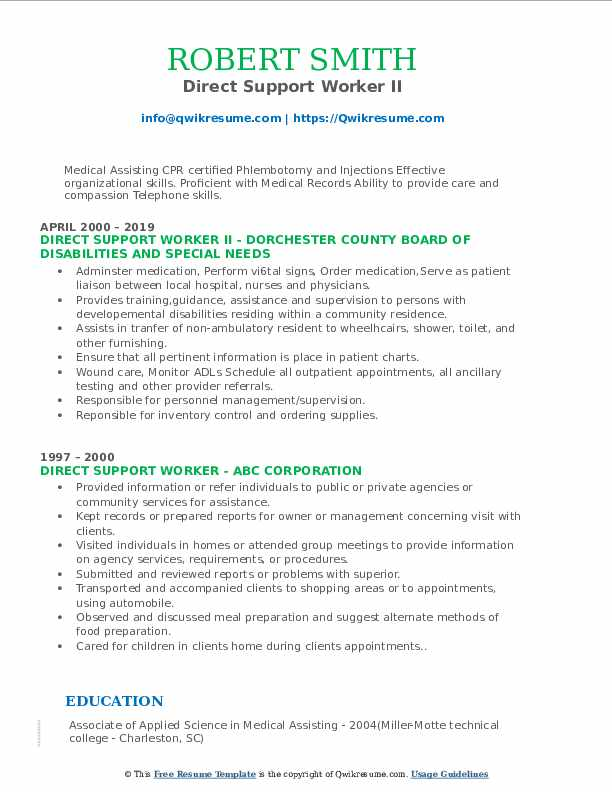 Direct Support Worker II Resume Format